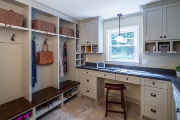 20 Mudroom Lighting Ideas at Lights Online Blog: This mudroom also serves as a home office, so the placement of the window is perfect. The pendant over the window only helps.
