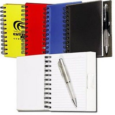 Spiral Customised Notebook w/Pen Min 100 - Promotional Giveaways - Custom Notepads - GO-27061s - Best Value Promotional items including Promotional Merchandise, Printed T shirts, Promotional Mugs, Promotional Clothing and Corporate Gifts from PROMOSXCHAGE - Melbourne, Sydney, Brisbane - Call 1800 PROMOS (776 667)