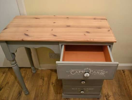 Desk,dressing table painted paris grey and barcelona annie sloan chalk paint