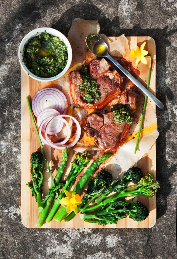 Slow Roasted Lamb Chops with Watercress Salsa Verde.