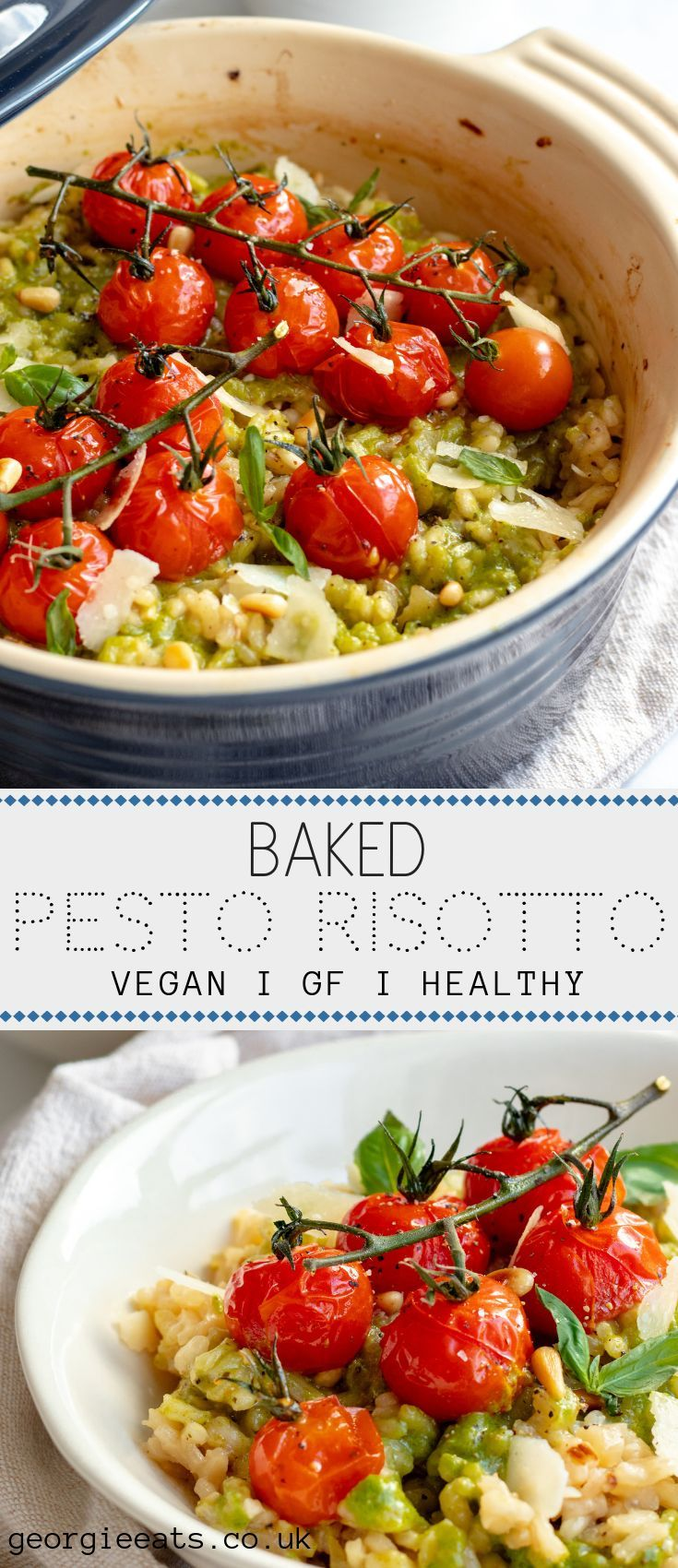 Baked pesto risotto with roasted tomatoes