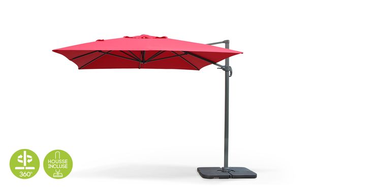 Photo Parasol déporté rectangulaire de 3x4m - Rouge