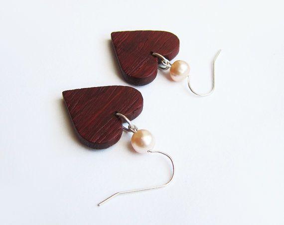 Wooden earrings natural caramel wood earrings by forEVAhairforks