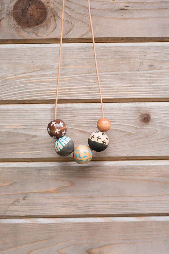 Hand Painted Wooden Bead Necklace // September Sky // by Anna Joyce