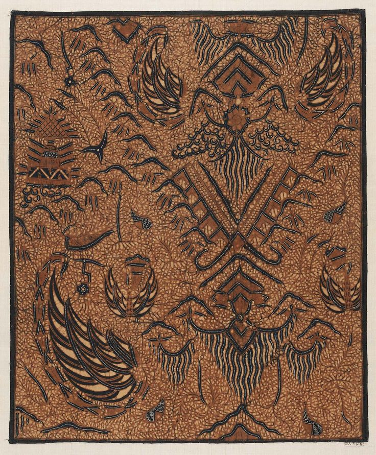 Date: late 19th century Location/Culture: Surakarta, Java Object is held at: Museum of Fine Arts Notable Techniques/Motif Names: This textile features single garuda wing motifs as well as the traditional colors of Javanese batik - indigo blue, brown and creamy white. It was also hand drawn making it batik tulis.
