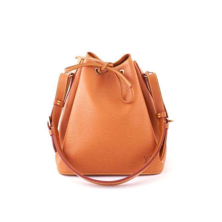 Authentic Louis Vuitton Brown Epi Leather Petit Noe Bag at THEBROWNPAPERBAG.NET #authentic #vintage #parisian #luxury #louisvuitton