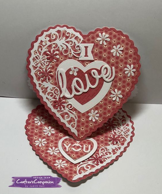 Easel Card made using Crafter's Companion Die'sire Create a Card Die Heart Easel Designed by Judith Hall #crafterscompanion #ccgemini