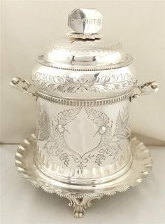 "Victorian Biscuit Jars | Victorian silver plated biscuit caddy or cookie jar 8"" c 1880"