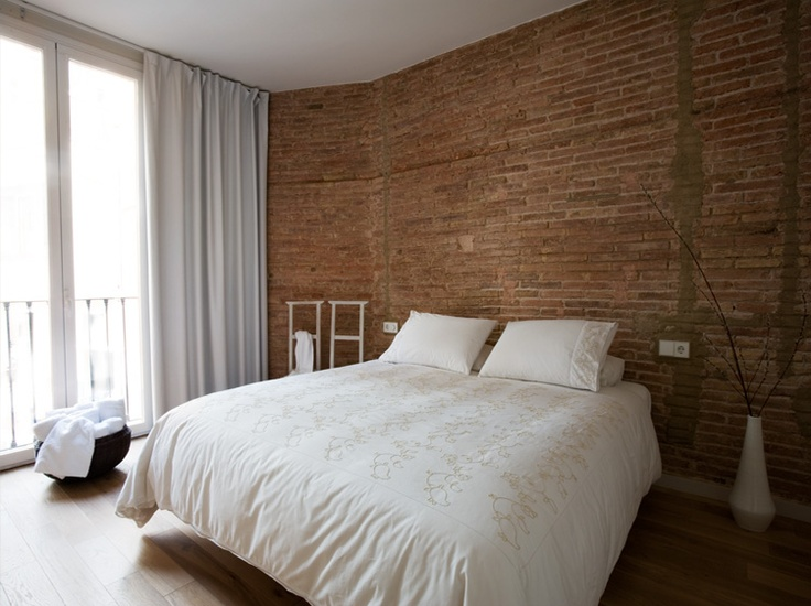 Exposed Brick Work In The Master Bedroom Of Our Ghost Apartment Barcelona Styling Interior DesignBedroom