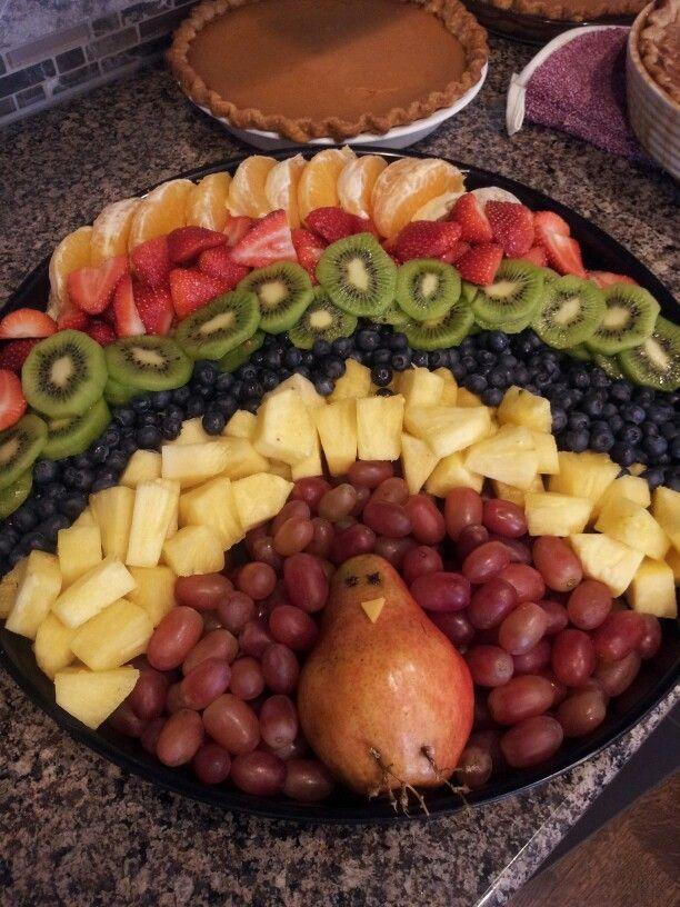 Turkey fruit platter so cute!!