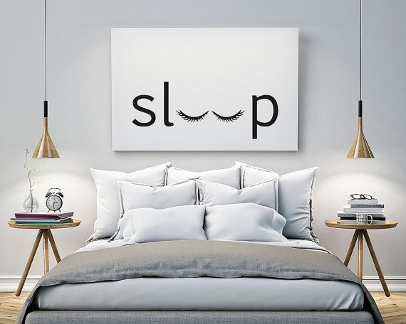 sleep Bedroom Printable Poster Typography Print Black &