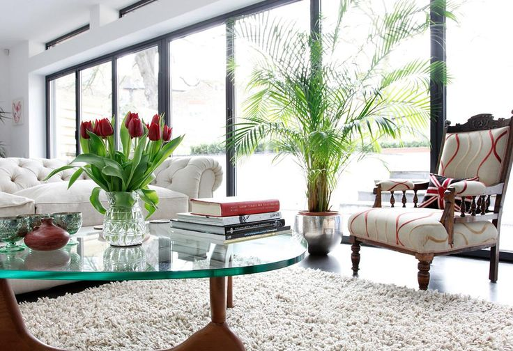 Top 13 Mood-Enhancing Eclectic Living Room Designs : Wonderful White Based Eclectic Living Room Design with Thick Glass Coffee Table and Ult...