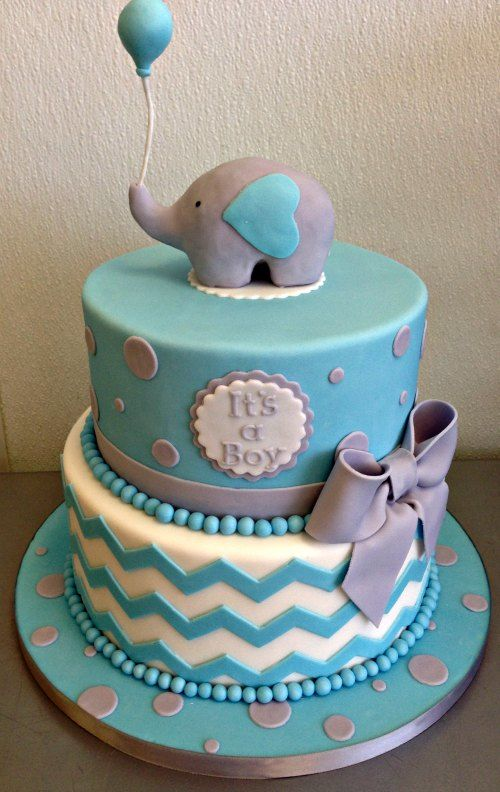 Baby Boy Girl Baby Shower Cake - Fondant Sculpted Elephant Ballon Gray Grey Ribbon Bow Polka Dot Zig Zag Beads Beaded Layered…