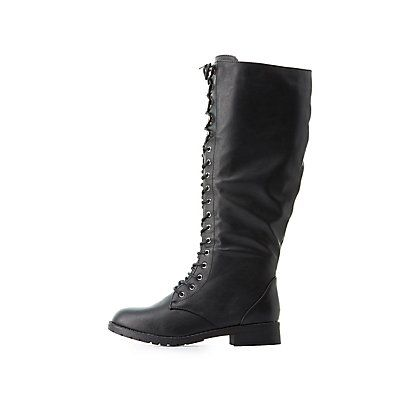 Black Lace-Up Knee-High Combat Boots - Size 7