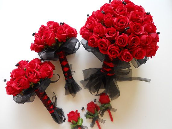 Black and Red Bridal Bouquet Set with Accent Crystals, 8 pieces wedding bouquet package