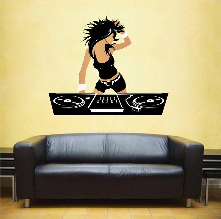 cik483 Full Color Wall decal girl DJ Music Mixer electronic installation Club