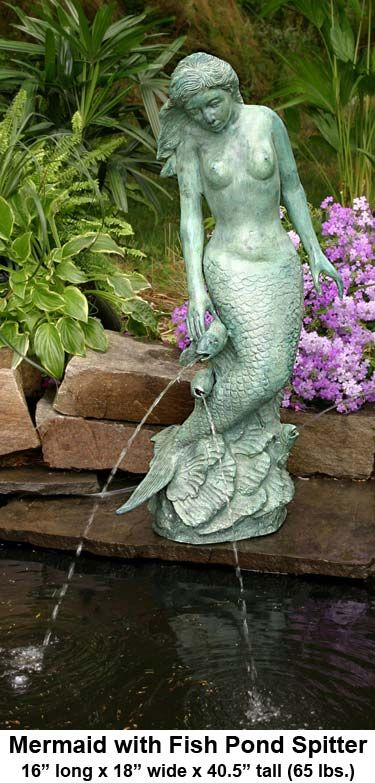 Mermaid with Fish Pond Spitter  This majestic water feature also makes a wonderful and unique garden statue. When used as a water feature, water continually spouts from the mouths of three fish, which are leaping out of the water to be near her. The water pours into the receptacle, creating a soothing sound and tranquil atmosphere, perfect for a backyard retreat.