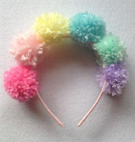 Pastel Rainbow Pom Pom Headband by messypink on Etsy, $15.00
