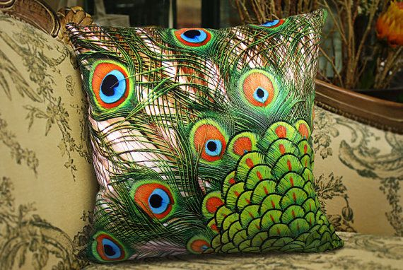 Elegant Square Velvet  throw pillow cushion cover peacock feather design on both sides optional sizess on Etsy, $16.99