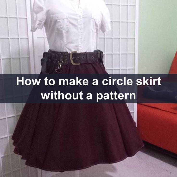 Step by step tutorial for a full circle skirt made of two half panels with two seams, elastic waist, and narrow hem. Includes a free pocket pattern, and waist circumference chart.