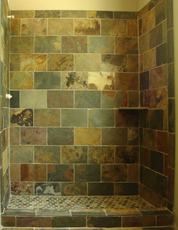 shower tile slate with brick pattern design client js ForSlate Tile Bathroom Ideas