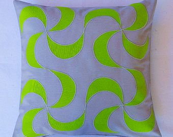 Grey Decorative Pillow Grey green throw pillow cover Grey Couch Cushion lime custom applique pillows