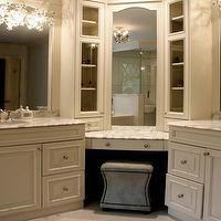 Sharon McCormick Design - bathrooms - corner vanity, corner bathroom vanity, corner make up vanity, inset mirrors, bathroom mirrors, glass f...