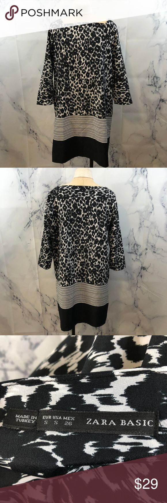 """Zara Animal Print Black and White Shift Dress Zara Animal Print Stripe Black and White Shift Dress With Pockets Materials: No materials tag, feels like polyester Size: Small Measurements Laid Flat Sleeve Length: 18"""" Bust: 19"""" Length: 34"""" Feel free to ask any questions, I can get back to you within 24 hours. Zara Dresses Mini"""