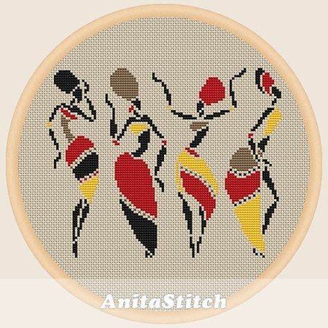 African dancing women Cross stitch pattern