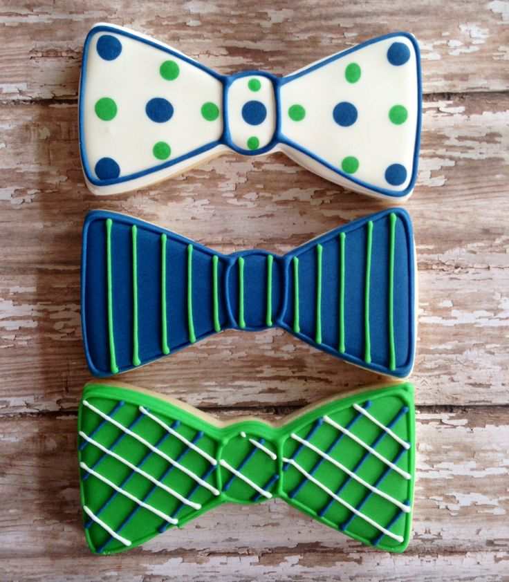 Bow Tie Cookies~      by SweetCBakeShop on Etsy, $38.00, Green, Blue