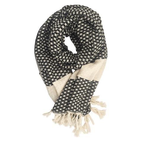 Belgin - towel scarf in black and ecru waffle weave