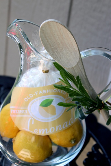 Summer Hostess Gift: You will need:   • 1 pitcher (I bought this glass one for $5.00 at TJMaxx)  • 5-7 lemons (depending on size)  • 1/2 cup of sugar  • recipe card with the recipe on it  • wooden spoon  • optional: garnish I used lavender