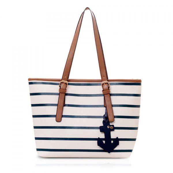 Casual Stripe and Pendant Design Shoulder Bag For Women, WHITE in Shoulder Bags   DressLily.com