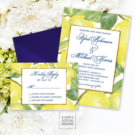 Lemon Wedding Invitation Suite - Fresh Lemon Navy with Faux Gold Foil Modern Calligraphy Reply Card Yellow and Navy Printable Geometric