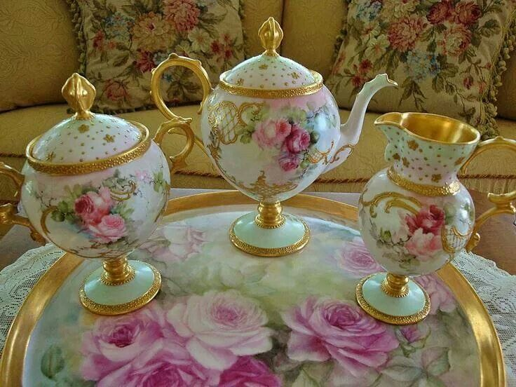 Limoges France Hand Painted Antique Tea Set ~Roses~ Artist Signed And From  Theverybest On Ruby Lane