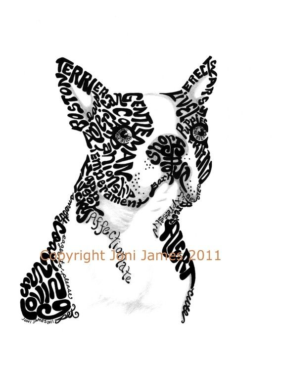 Boston Terrier Art Typography Drawing, Dog Art Print Calligram Dog Illustration, Animal Calligrams Boston Terrier Drawing, Gift Under 20