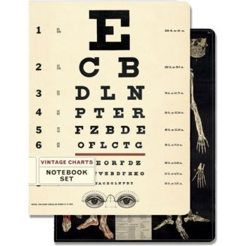 This notebook set features vintage eye chart and anatomical chart imagery from the Cavallini archives. A unique place to make notes and jot lists. Includes one ruled and one graph paper notebook, 96 p