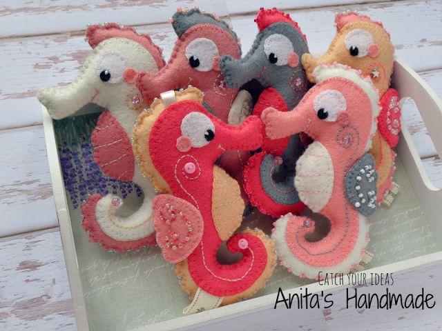 Filcowe breloczki koniki morskie #filc #felt #konikmorski #seahorse