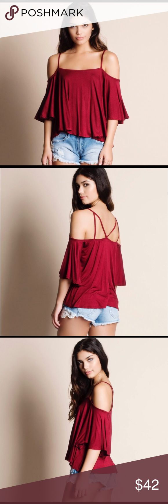 Cold Shoulder Strappy Top Beautiful red/burgundy color for any season, dress it up and/or dress it down. Aluna Levi Tops Tank Tops