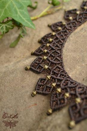 Collana macramè con ottone o perline di legno di OriAnHeArt