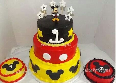 Mickey Mouse Three Tier Cake Birthday Smash Party