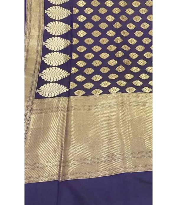 Blue Banarasi Handloom Georgette Silk Saree