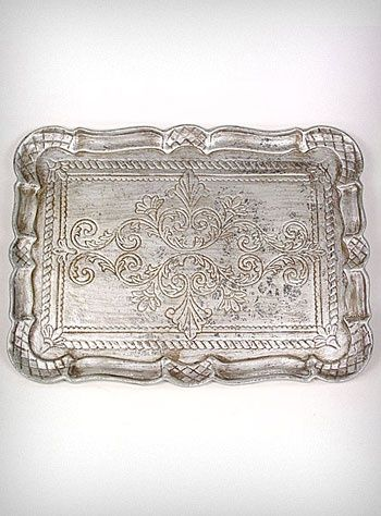 Antiqued Silver Victorian Serving Tray