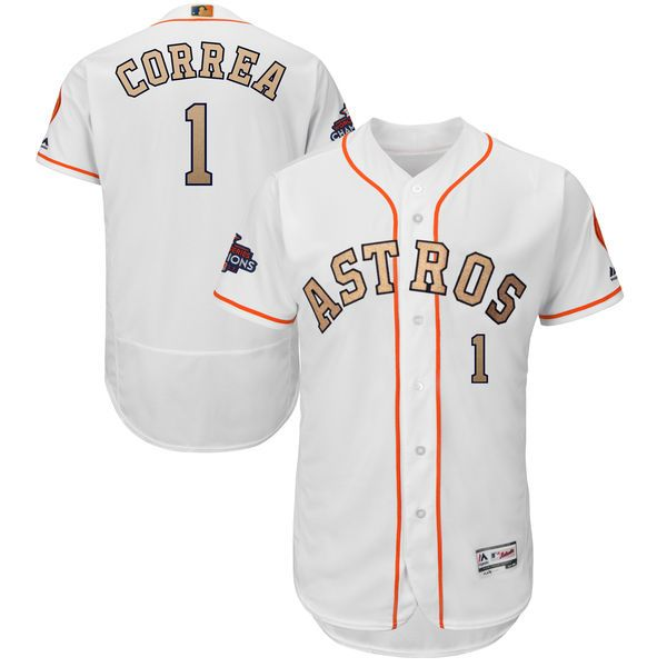 timeless design bea43 dce0c Men's Houston Astros Carlos Correa Majestic White 2018 Gold ...