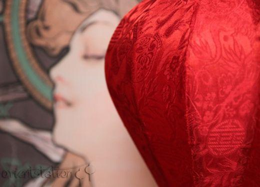 Lampion z jedwabiu, abażur Diamond - czerwony