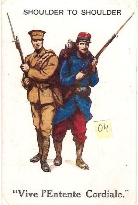 Great War postcard from 1914- demonstrating the strength of Anglo-French unity at the beginning of the war. pic.twitter.com/csGLGEVYqa