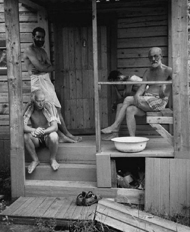 Sigmund Freud e Carl Jung depois de sair da sauna, 1907