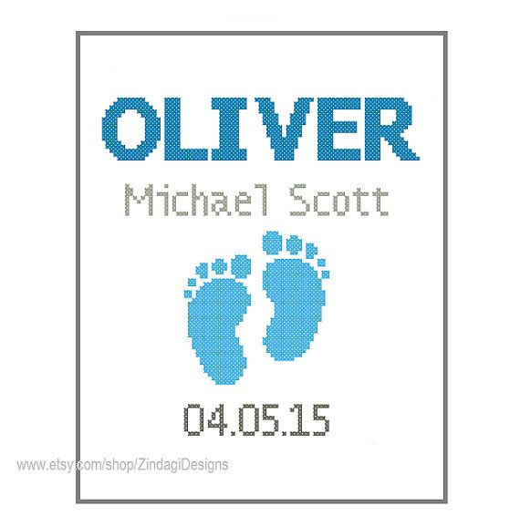 1 Cross Stitch custom Pattern Baby Boy Personalised Birth Announcement Record Blue Gray with cute Baby Foot Prints - Birthday Nursery Gift