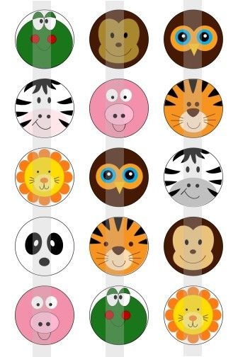"""Cute Animal Faces - one 4x6 inch digital sheet of 1"""" round images for bottlecaps, magnets, glass tiles, pendants. $1.75, via Etsy."""