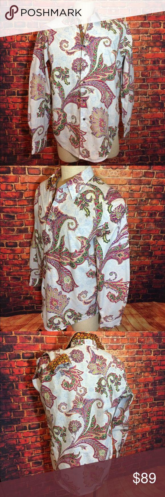 Robert Graham Blue Pink Paisley Flip Cuff Shirt L Robert Graham Blue Green Pink Paisley Flip Cuff Shirt L Robert Graham Shirts Casual Button Down Shirts